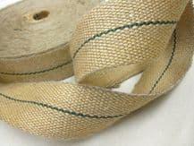 "Reel of STRONG 12lb Green stripe jute upholstery chair webbing roll - 33mt 2"" w"